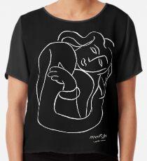 TAHITIAN LADY : Vintage Matisse Black and White Painting Print Chiffon Top