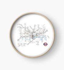 Hand Drawn London Underground Art Map Clock