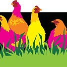 Neon Chooks Chickens by Bloomin'  Arty Families