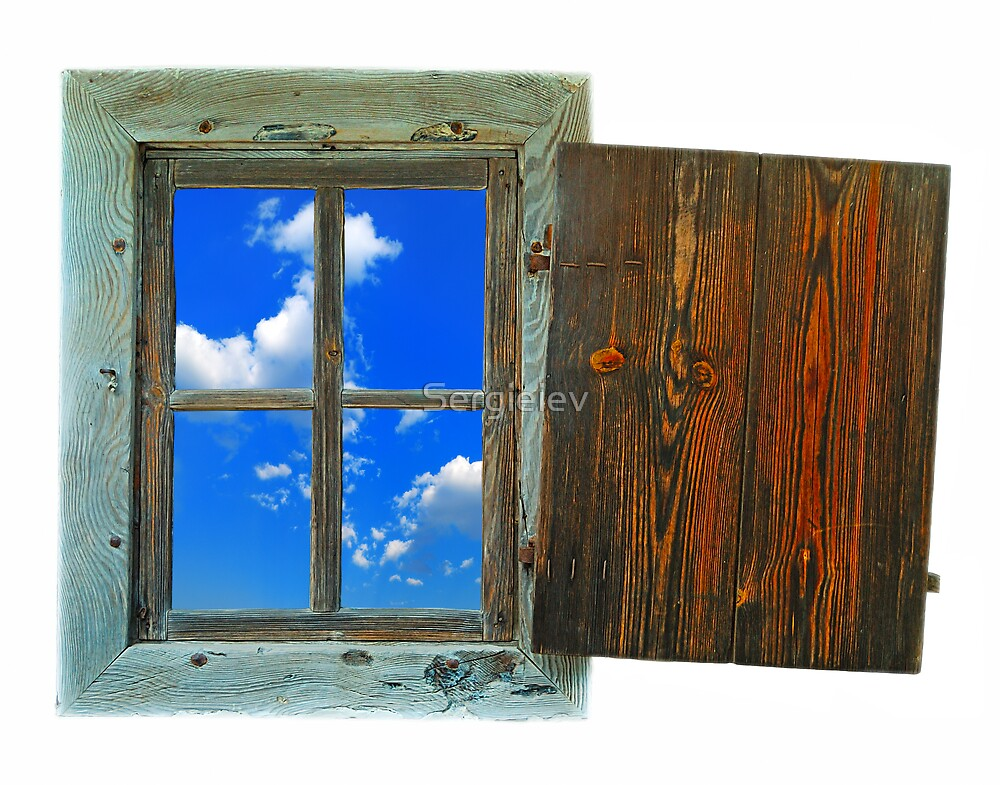 window of country house on a white background with a  sky view by Sergieiev