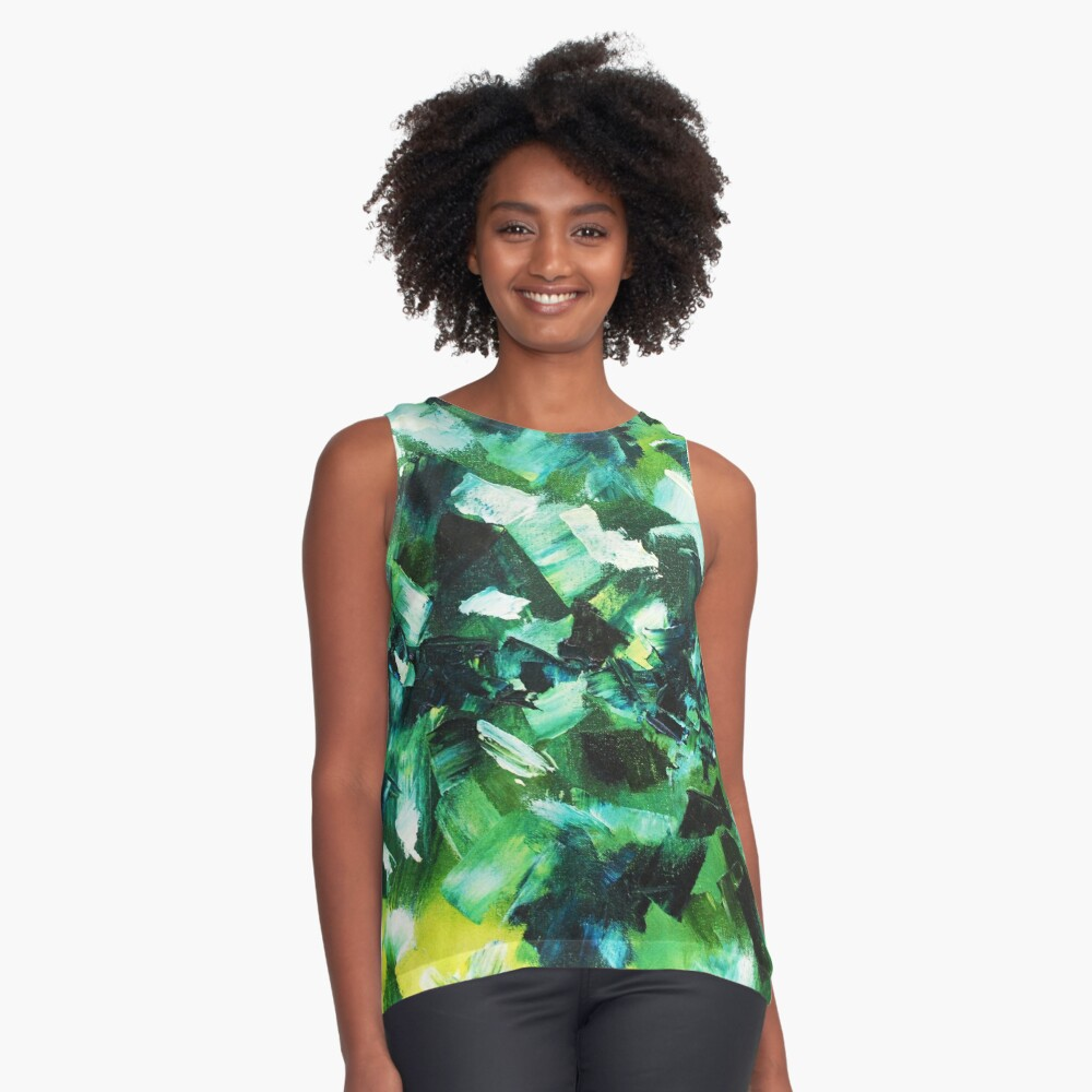 Yellow, Blue and Green Abstract Painting Contrast Tank Front