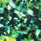 Yellow, Blue and Green Abstract Painting by Erika Lancaster