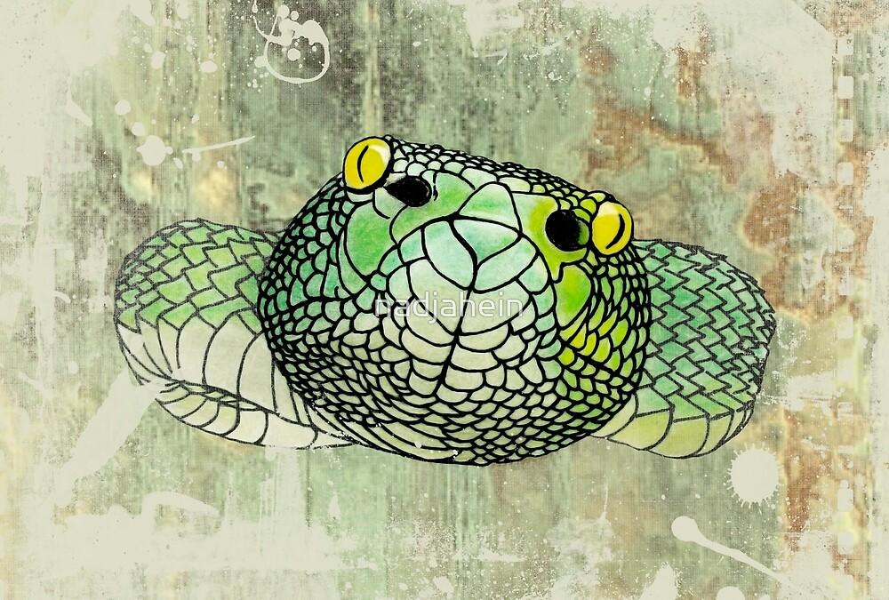 snake in green by nadjahein