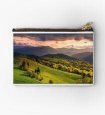 gorgeous sunset over Carpathian mountains Studio Pouch