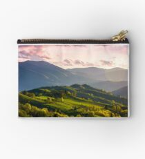 colorful sunset in Carpathian countryside Studio Pouch