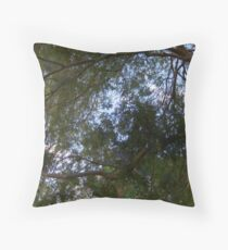 Curvilinear Branches and Lush Foliage With Fauvist Touches of Green, Purple, Blue and Orange  Throw Pillow