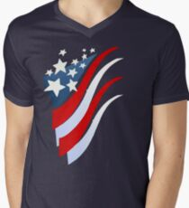 Stripes N Stars Mens V-Neck T-Shirt