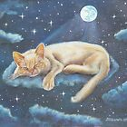 Cat Art - Morfeo and the Moon by AlessandraArt