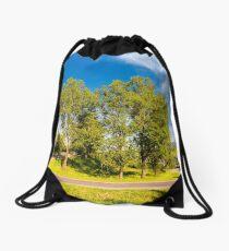 serpentine road turnaround among tall trees Drawstring Bag