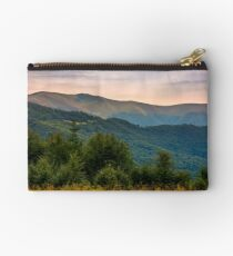 forested hills of Carpathian mountains in summer Studio Pouch