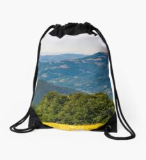 forested hills of Carpathian mountains Drawstring Bag