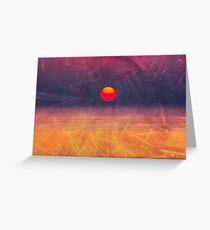 purple digital sunrise background Greeting Card