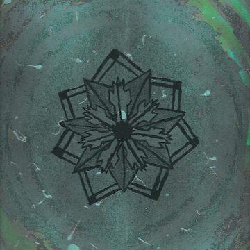 Abstract geometric flower (green blue design) by kavinski