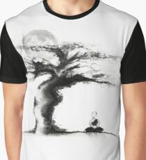 A monk meditating under an old tree in the moonlight Japanese Zen Sumi-e painting art print Graphic T-Shirt