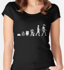 Droids Evolution T Shirt, Robots Freaky Geeky Gift Ideas Women's Fitted Scoop T-Shirt