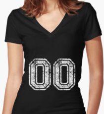 Sport Team Jersey 00 T Shirt Football Soccer Baseball Hockey Double Basketball Double Zero  Women's Fitted V-Neck T-Shirt