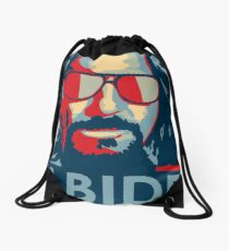 The Dude Abides T Shirt, Abide, Yes We Can Obama Parody Original Design Drawstring Bag