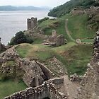 Grounds of castle C13-17 from keep Urquhart Bay Loch Ness Scotland 19840910 0006  by Fred Mitchell