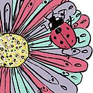 Ladybug on a Flower by Laura Maxwell