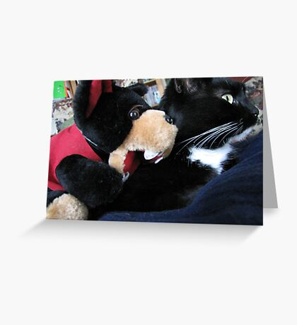 RnR cat capers ... best friends after all Greeting Card
