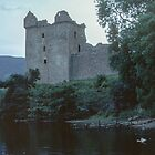 Urquhart Castle C13-17 and jetty from waters edge on Loch Ness Scotland 19840910 0011  by Fred Mitchell