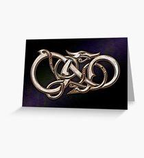 Viking Dragon in metal Greeting Card