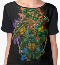 Teenage Mutant Ninja Turtles Colorful Splatter Background Illustration Chiffon Top
