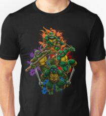 Teenage Mutant Ninja Turtles Colorful Splatter Background Illustration Unisex T-Shirt