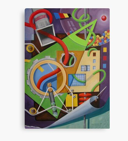 Abstract with Green Triangle and Turning Page Canvas Print
