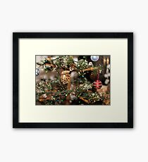 close up Golden bump on the New Year tree branch in selective focus. Framed Print