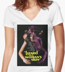 LIZARD IN A WOMAN'S SKIN Women's Fitted V-Neck T-Shirt