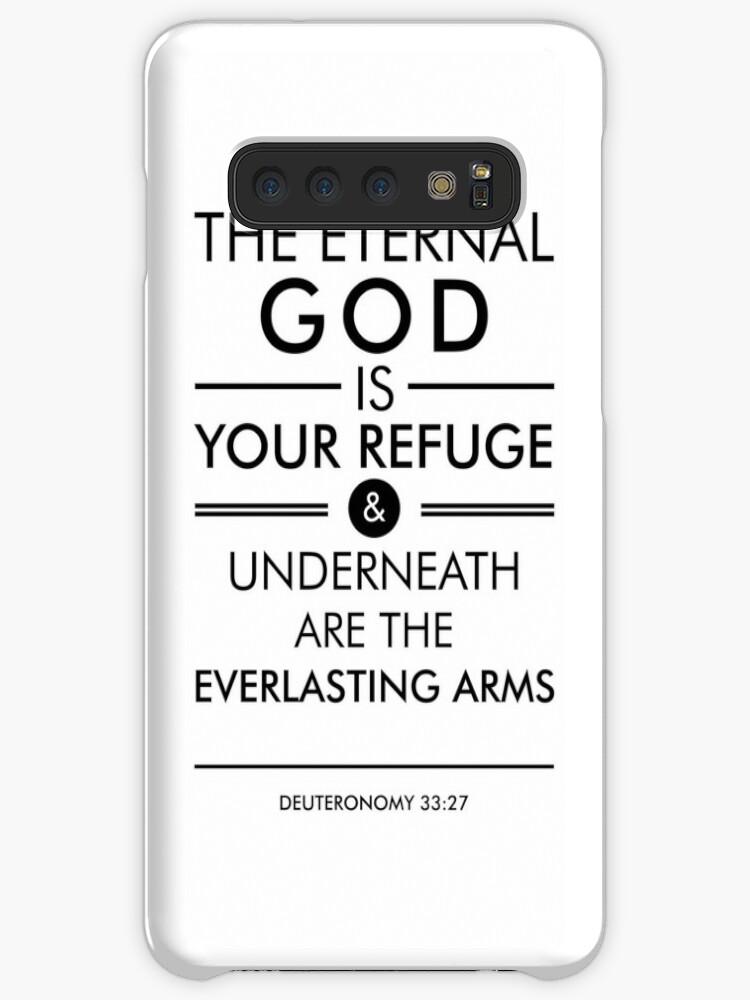 'Deuteronomy 33-27 - Spiritual Wall Art - Bible Verses Art - Minimalist  Scripture' Case/Skin for Samsung Galaxy by Studio Grafiikka