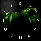 Two Green Peppers White Numbers Wall Clock by Alan Harman