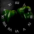 Two Green Peppers White Roman Numbers Wall Clock by Alan Harman