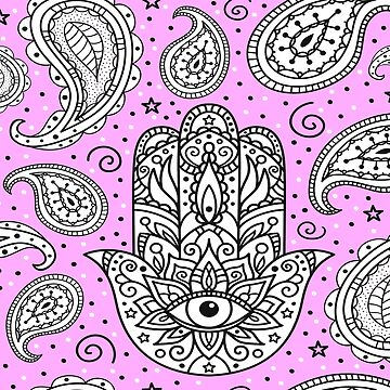 Amulet and paisley - pastel pink by peggieprints