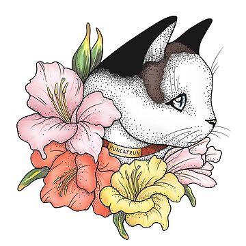 Cat Portrait in Gladiolus Flowers (Pink Edition) by runcatrun