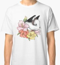 Cat Portrait in Gladiolus Flowers (Pink Edition) Classic T-Shirt