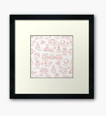 Seamless pattern with kids toys. Framed Print