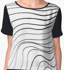 Hand-drawn line art wavy pattern Chiffon Top