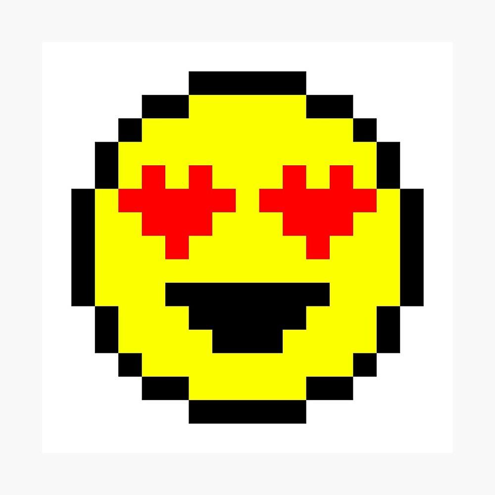 Lámina Fotográfica «Pixel Heart Eyes Emoji» De Squishygay