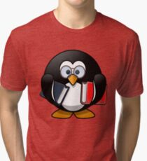 Penguin bookworm reading office Tri-blend T-Shirt