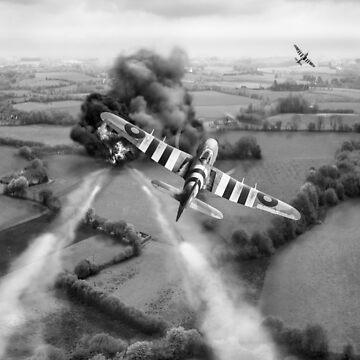 Hawker Typhoon rocket attack B&W version by garyeason