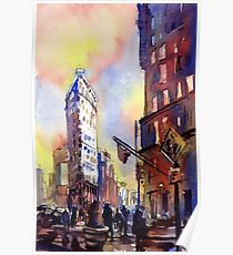 Watercolor painting of the historic Flatiron Building in New York City- New York (USA) Poster