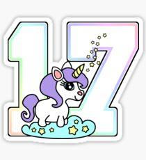 cute number 17 unicorn rainbow pastel Sticker