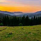 beautiful sunset in Carpathian mountains by mike-pellinni
