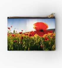 poppy flowers close up in the field Studio Pouch