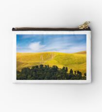 path out of birch forest to the mountains Studio Pouch