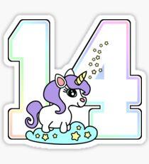 Number 14 cute unicorn rainbow pastel Sticker