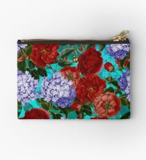 Red Roses and Blue Hydrangea Vintage Pattern Studio Pouch