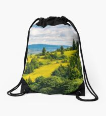 coniferous forest on a  mountain slope Drawstring Bag